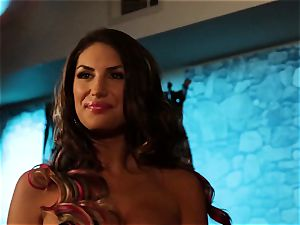 August Ames and Lily Cade wire on bed fuck-a-thon