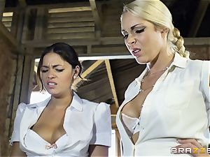 nasty lesbians Ava Dalush and Victoria Summer plumb the stable dude