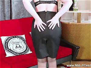 super hot honey peels off dark-hued underwear wanks in nylon garter