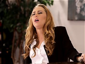 Under table vag licking with Carter Cruise