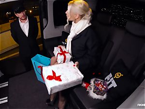 plowed IN TRAFFIC - Christmas car hook-up with Swedish babe