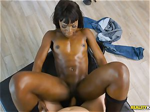 super-naughty ebony sweetheart Ana Foxxx arrives as a cop and inserts the man rod of Jessie in her minge