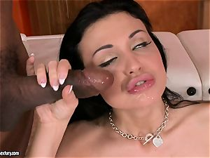 jizz thirsting Aletta Ocean wanted a fountain on her facehole after a cute anal