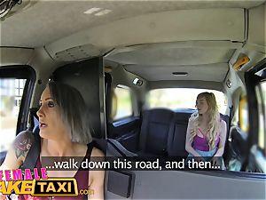 gal fake taxi girl-on-girl meeting for posh schoolgirl