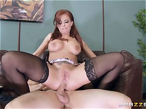 ginger-haired boss Britney Amber ravages a insatiable employee