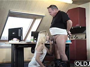 youthful senior porn Martha gives grandpa a dirty blow-job