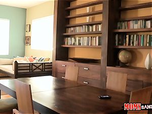 Eva Lovia catches her study colleague filming her and her stepmom getting freaky
