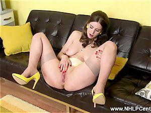 inborn fat knockers dark-haired finger pokes in sheer nylons