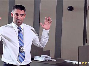 Bridgette B climbs aboard a randy cops man-meat