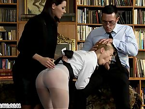 The schoolteacher punishes nubile pupil in the college library