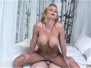 Phoenix Marie juggles her raw labia on this firm fuckpole