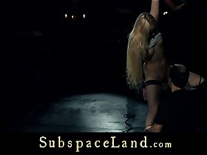 sub damsel platinum-blonde pleasured and penalized in obedience