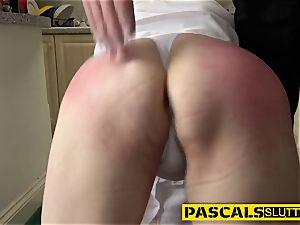 ball-gagged blonde sub railed