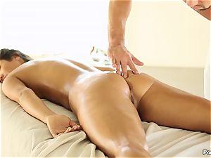 Eva Lovia enjoys an after massage fucking