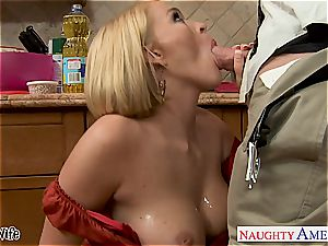 Krissy in the kitchen suck and penetrates until his chisel spews