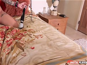 tattooed punk rock women Leigh Raven and Nikki Hearts playing with their fresh fuckfest fucktoy