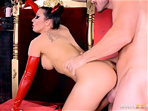 infernal black-haired Rachel Starr rails Johnny Sins