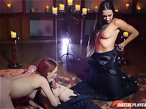 jism swallowing threeway with magnificent Ella Hughes and jaw-dropping stunner Mea Melone