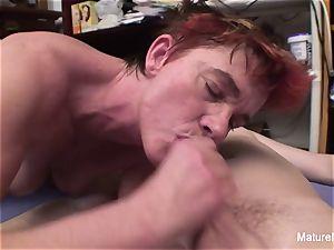 aged mega-slut fellates and jerks off a pecker