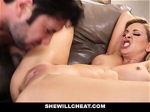 SheWillCheat cuckold wifey Gags on rod