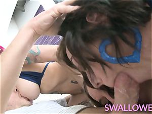 gulped Anna, Harlow and Kleio gasping on ample boner