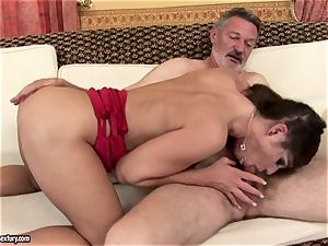 filthy nubile Cathy Heaven intensively sucking a thick erect beef whistle